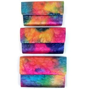 Colorful dip dyed satin rainbow clutch handbag bag